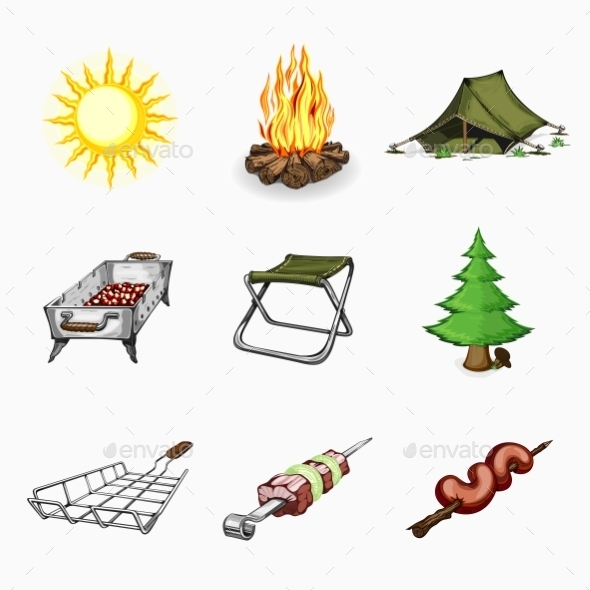 Set Of Tourism And Camping Icons.  - Travel Conceptual