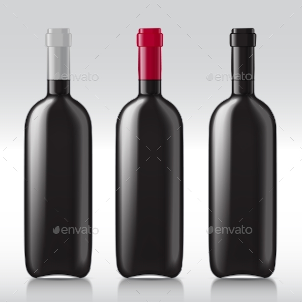 Set Realistic Glass Bottles For Wine - Objects Vectors