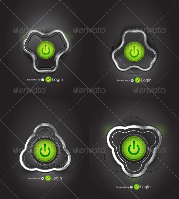 Futuristic Power Buttons - Web Elements Vectors