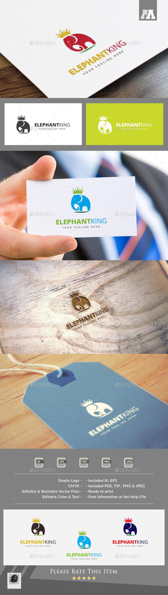 Elephant King Logo Template - Animals Logo Templates