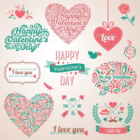 Happy Valentines Day And Weeding Design Elements. - Valentines Seasons/Holidays