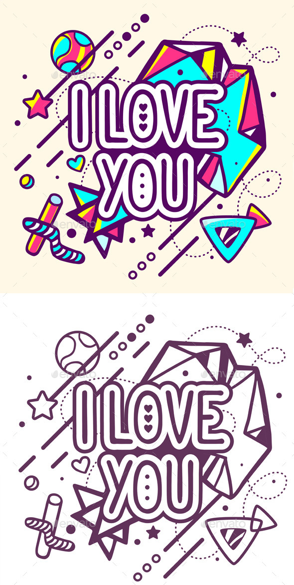 I Love You Quote on Abstract Background - Decorative Symbols Decorative