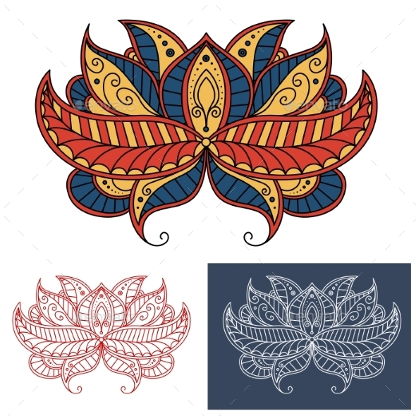 Persian Paisley Flower With Curving Lines - Flourishes / Swirls Decorative