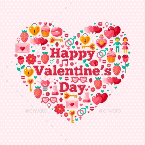 Happy Valentine's Day Text Concept With Flat - Valentines Seasons/Holidays