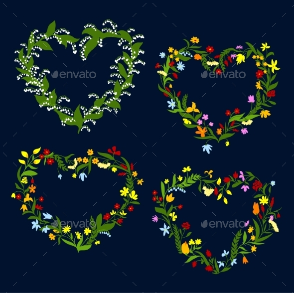 Heart Shaped Spring Or Summer Wreaths - Flowers & Plants Nature
