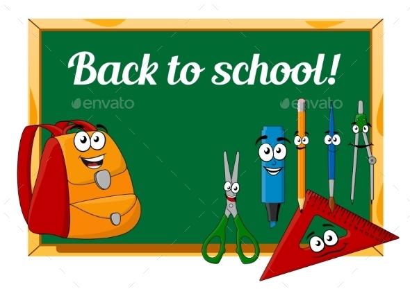Chalkboard With Cartoon School Supplies - Objects Vectors