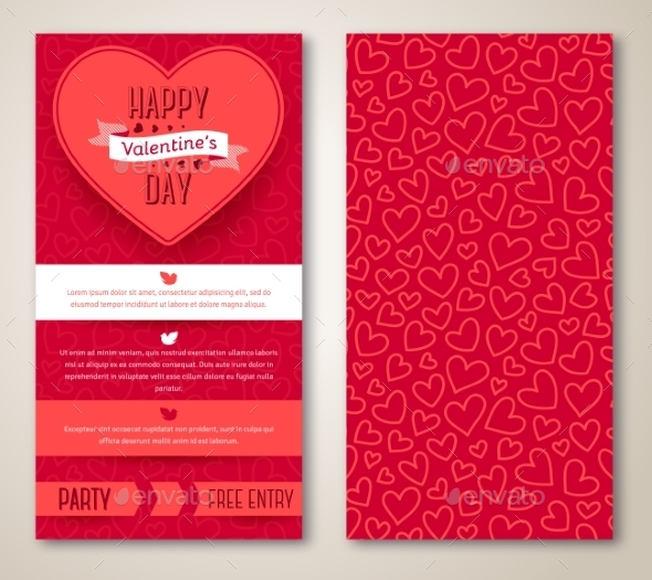 Beautiful Greeting Cards With Heart Pattern - Valentines Seasons/Holidays