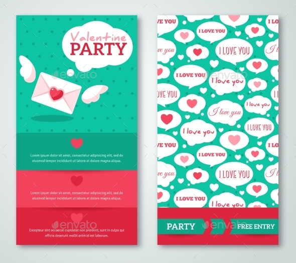 Beautiful Greeting Or Invitation Cards With Speech - Valentines Seasons/Holidays