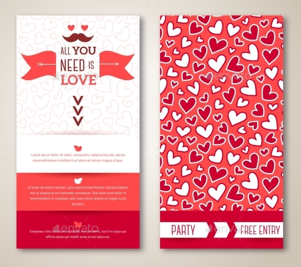 Beautiful Greeting Or Invitation Cards With Heart - Valentines Seasons/Holidays