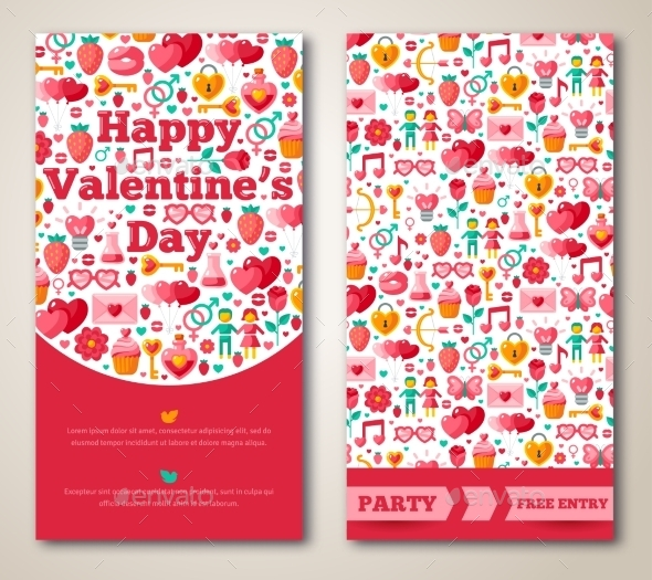 Set Of Happy Valentines Day Greeting Card Or Flyer