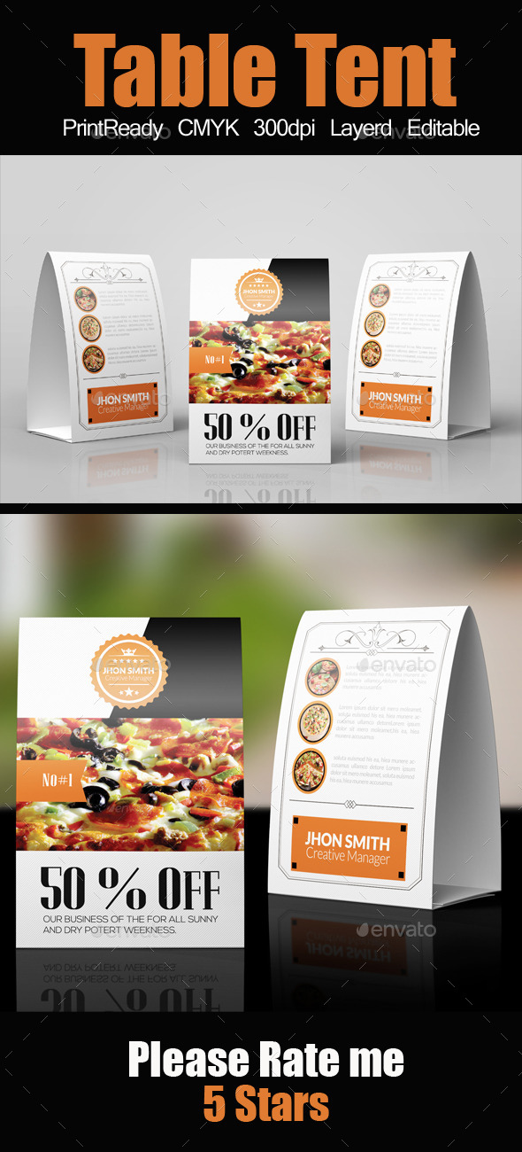 Restaurant Table Tent Template - Miscellaneous Events