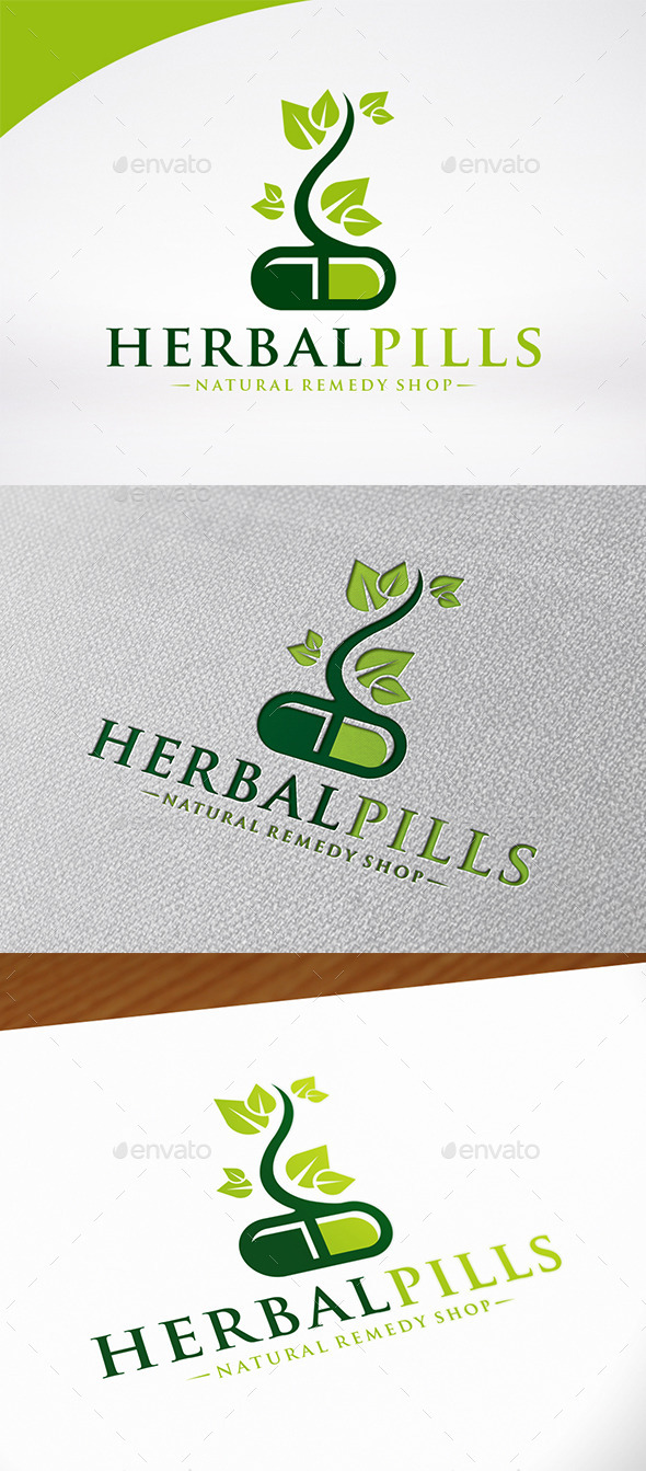 Herbal Pill Logo Template - Nature Logo Templates