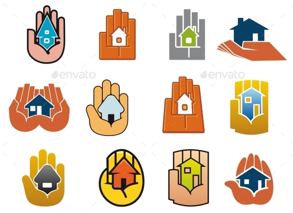 Abstract Icons Of Houses In Hands - Buildings Objects