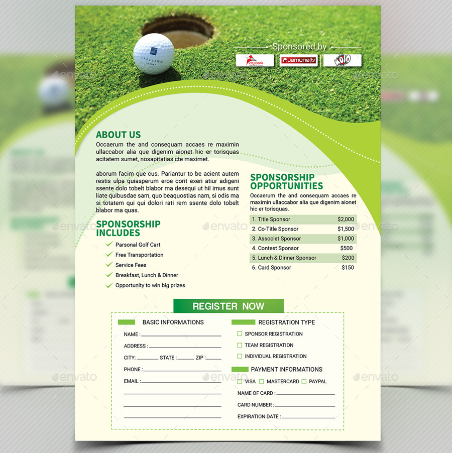 Golf tournament flyer template v4 by aam360 graphicriver for Golf tournament program template