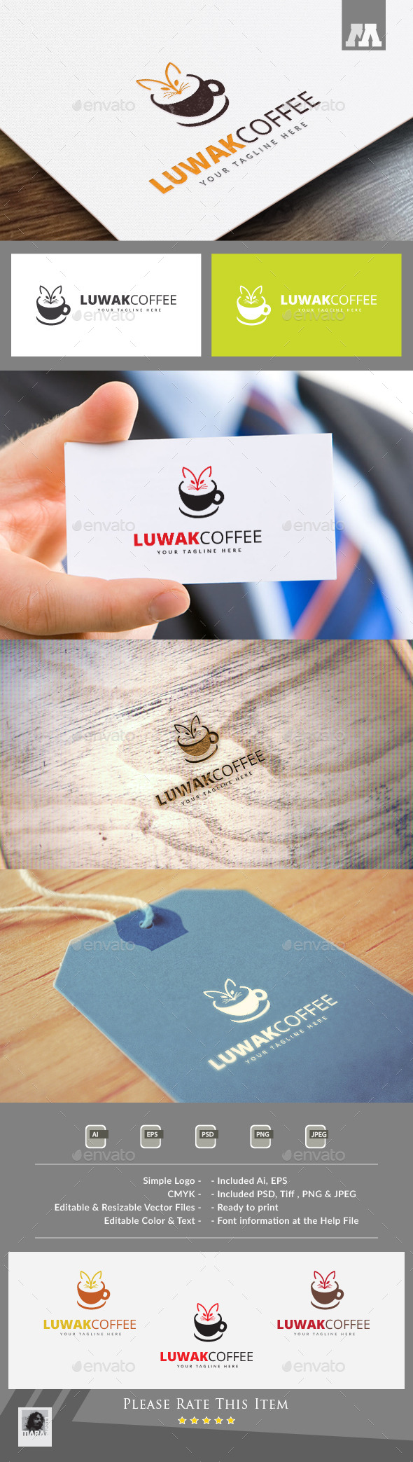 Luwak Coffee Logo Template - Food Logo Templates