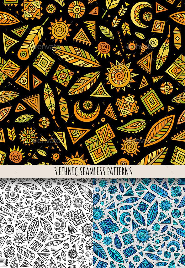 3 Tribal Ethnic Seamless Pattern