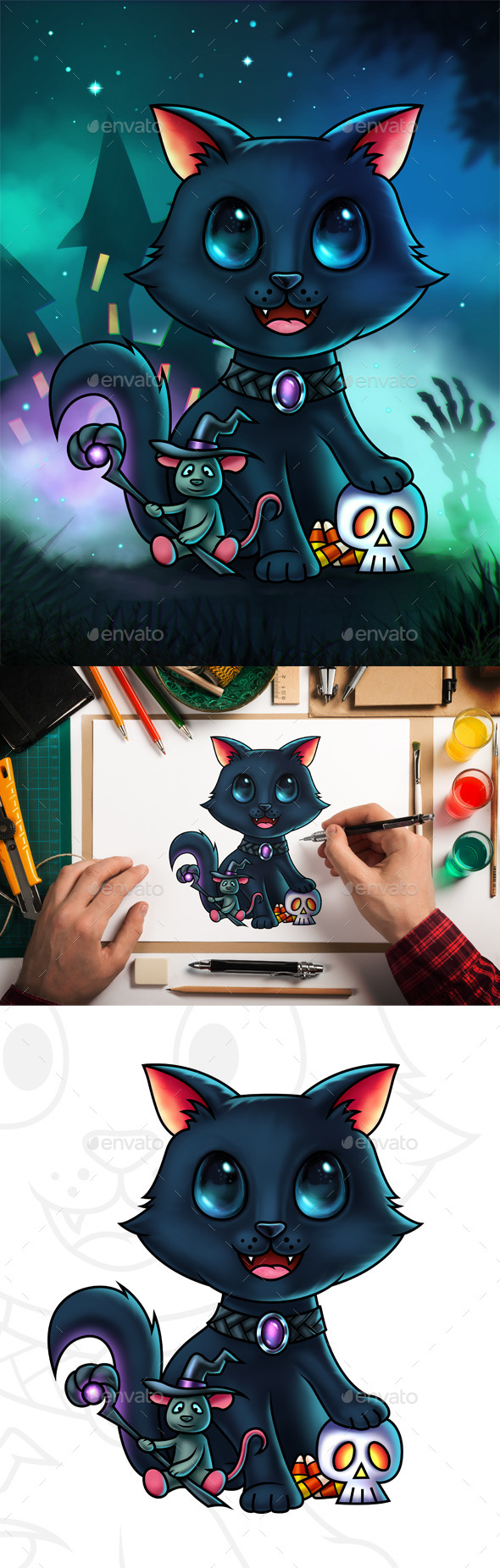 Cat and Mouse Halloween Digital Painting - Characters Illustrations