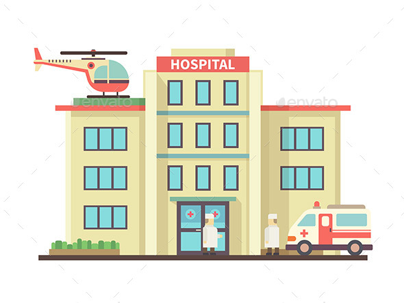 Hospital Building Flat Style - Health/Medicine Conceptual