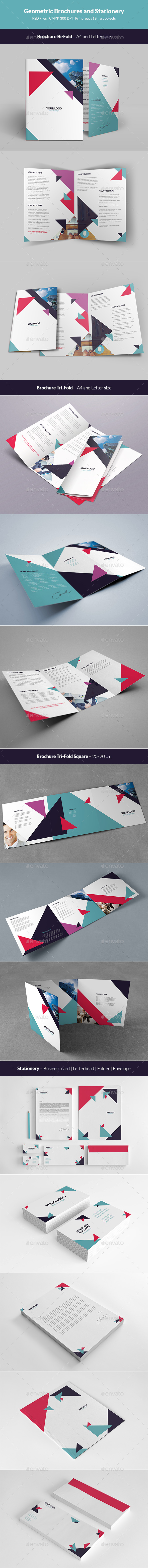 Geometric Brochures and Stationery - Stationery Print Templates
