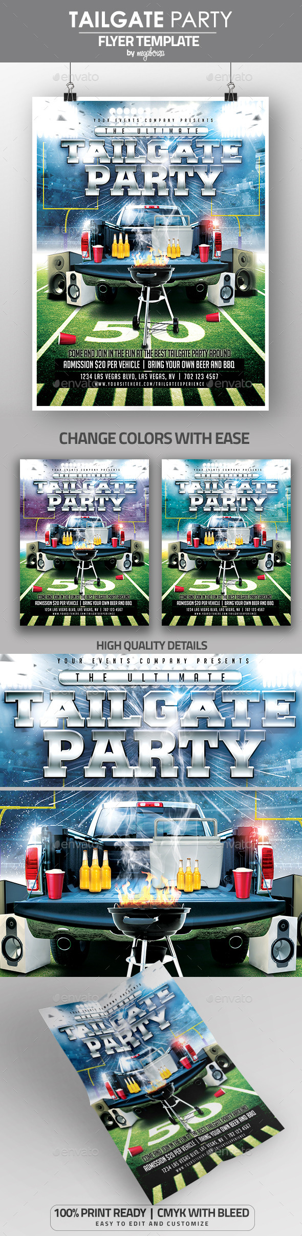 Ultimate Tailgate Party Flyer / Poster Template - Clubs & Parties Events