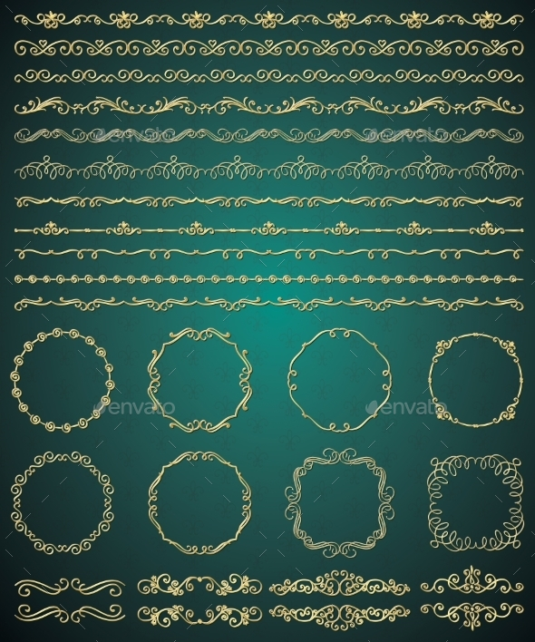Golden Hand Sketched Seamless Borders - Borders Decorative