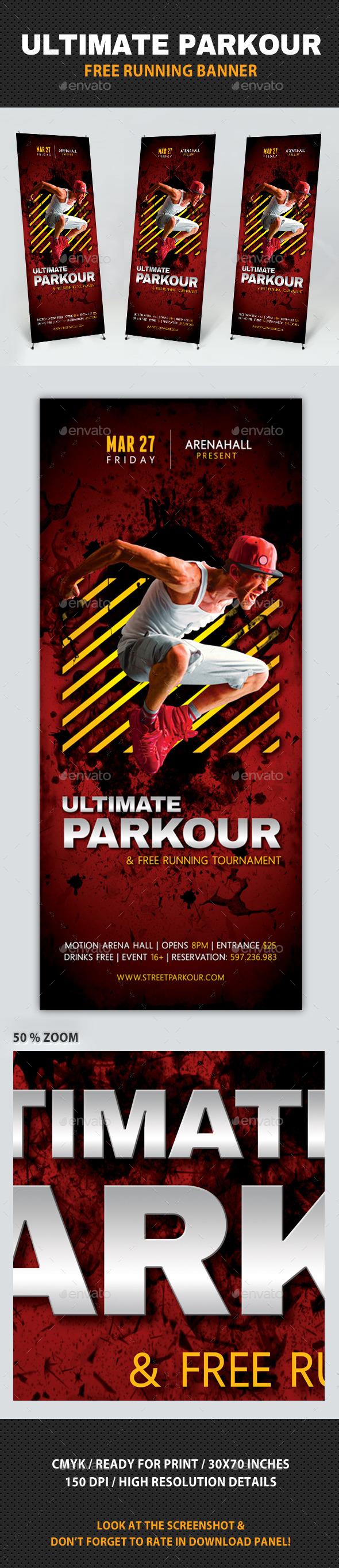 Ultimate Parkour Free Running Banner V2 - Signage Print Templates