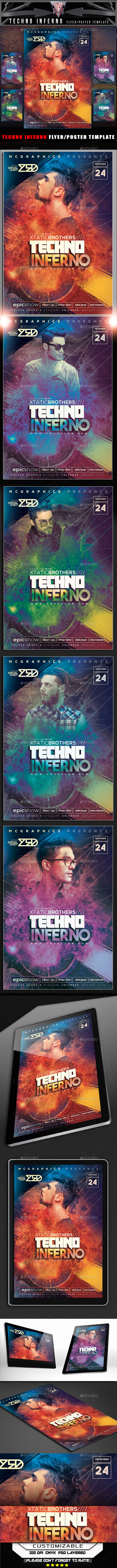 Techno Inferno Flyer Template - Events Flyers