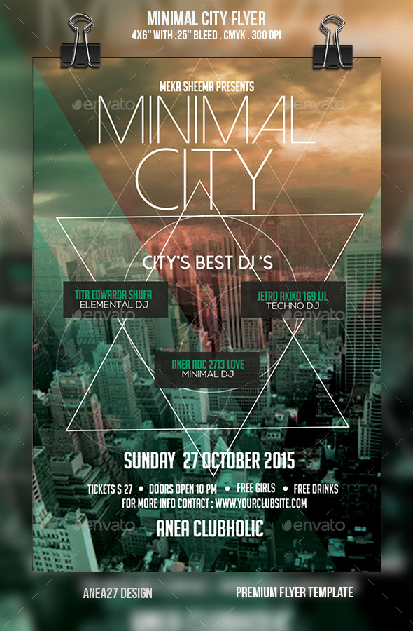 Minimal City Flyer - Clubs & Parties Events