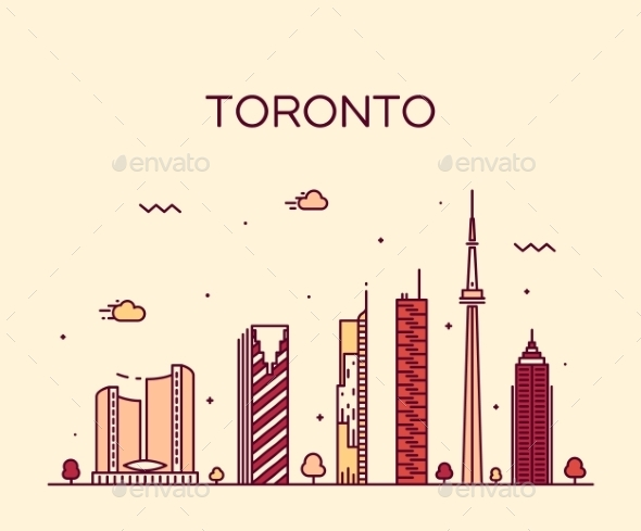 Toronto Skyline Trendy Vector Illustration Linear - Landscapes Nature