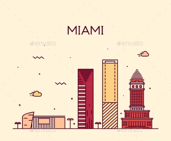 Miami Skyline Trendy Vector Illustration Linear - Landscapes Nature
