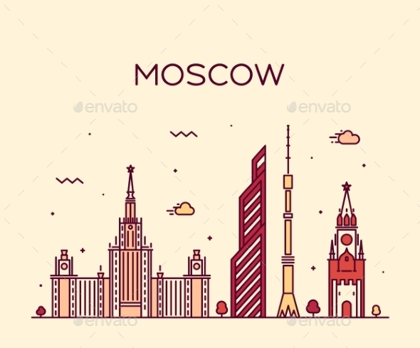 Moscow Skyline Trendy Vector Illustration Linear - Buildings Objects