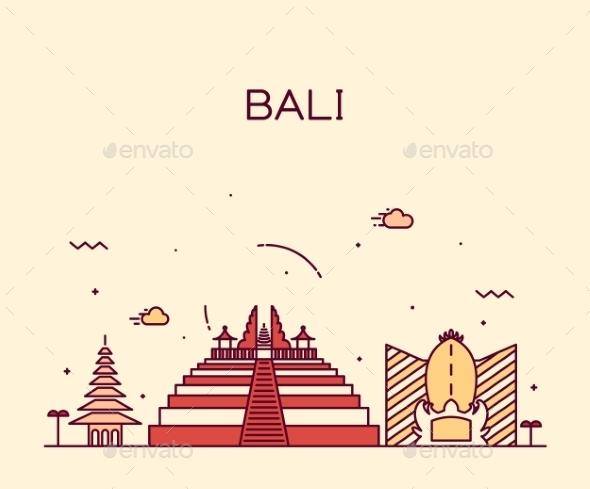 Bali Skyline Trendy Vector Illustration Linear - Religion Conceptual