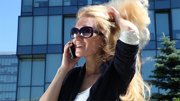 Business Woman Talking on Cellular Phone