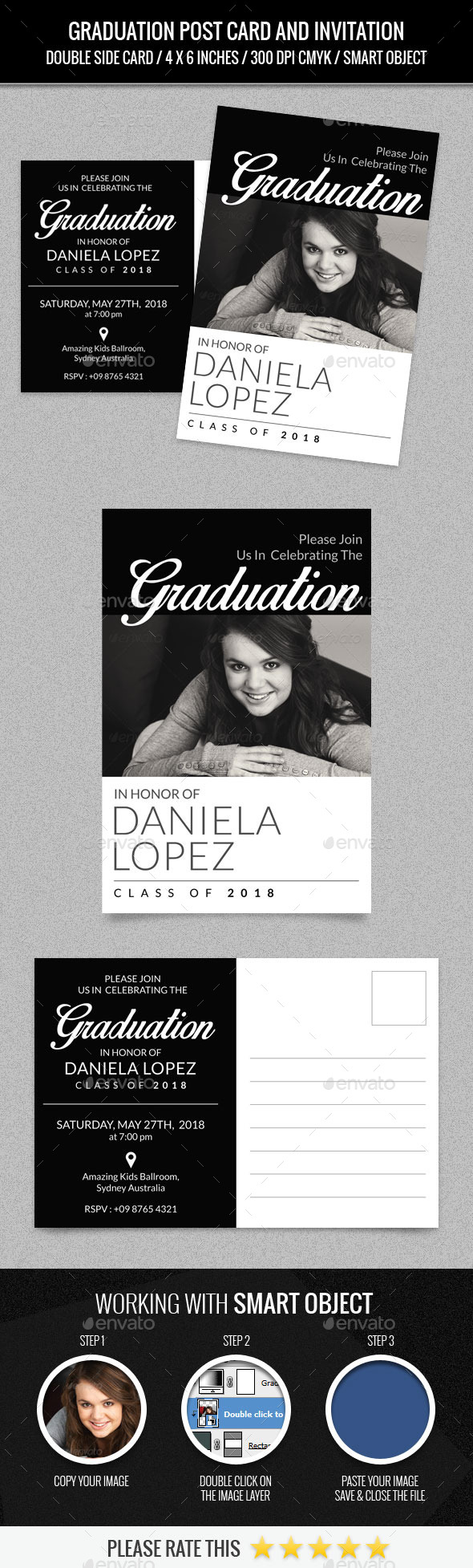 Graduation Party Post Card Template - Cards & Invites Print Templates