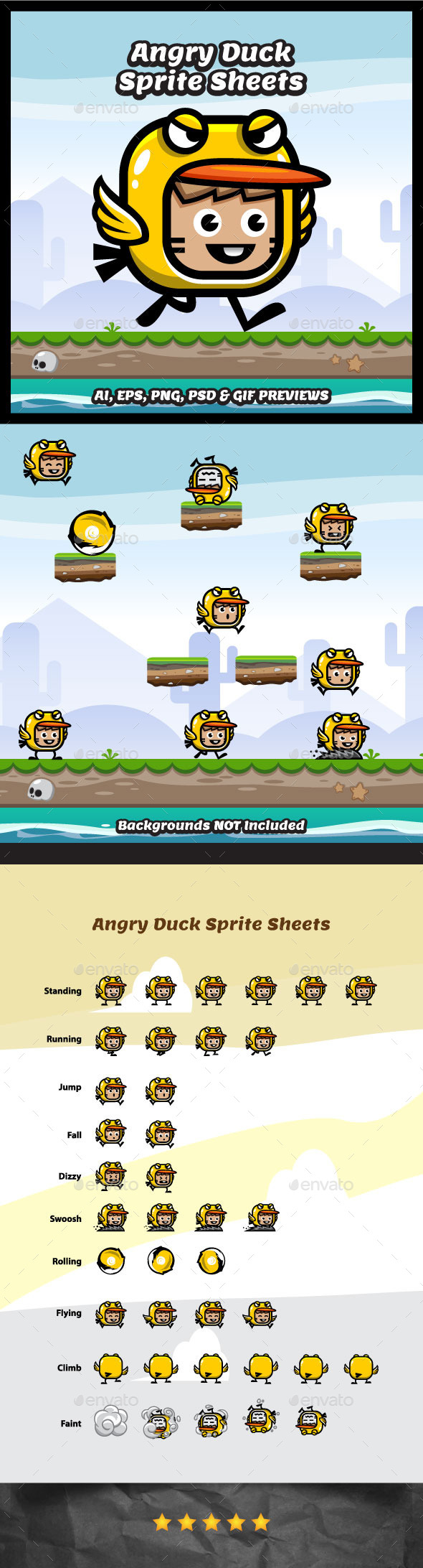 Angry Duck Mascot Game Character Sprites - Sprites Game Assets