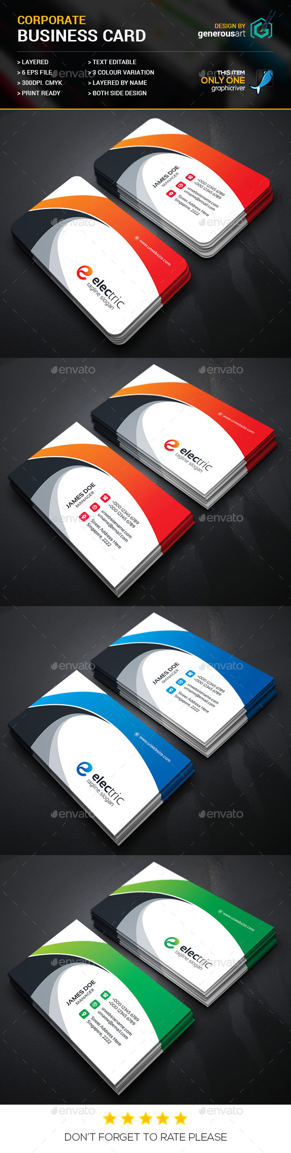 Electric Corporate Business Cards_3 - Corporate Business Cards