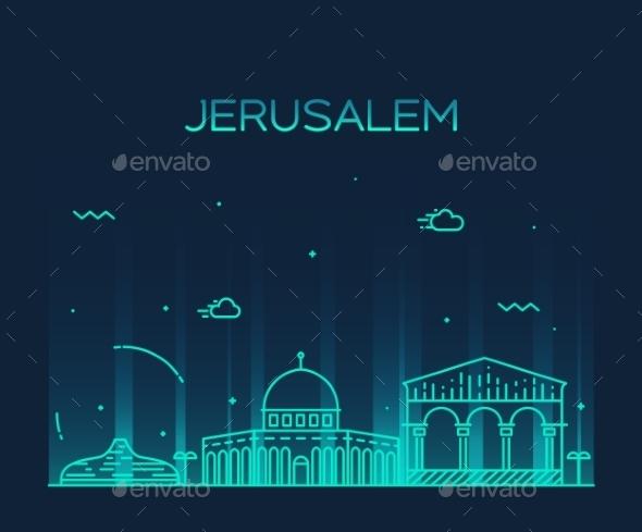 Jerusalem Skyline Trendy Vector Linear Style - Travel Conceptual