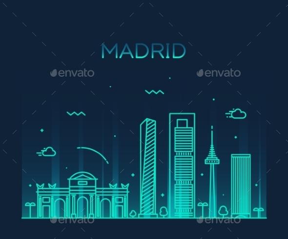 Madrid Skyline Trendy Vector Illustration Linear - Landscapes Nature