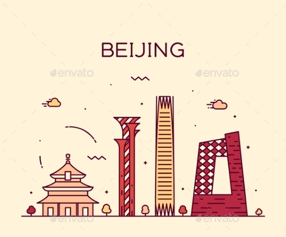 Beijing Skyline Trendy Vector Illustration Linear - Landscapes Nature