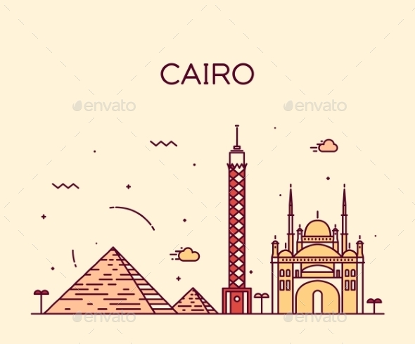 Cairo Skyline Trendy Vector Illustration Linear - Landscapes Nature