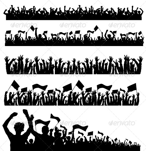Vector Crowd with Flags - People Characters