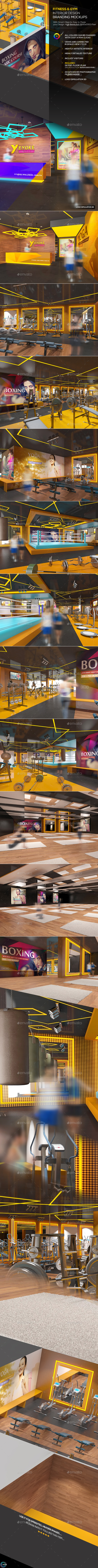 Fitness & Gym Interior Design  Branding Mockups - Logo Product Mock-Ups