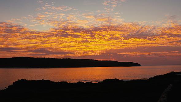 Golden Sunrise Over the Ocean