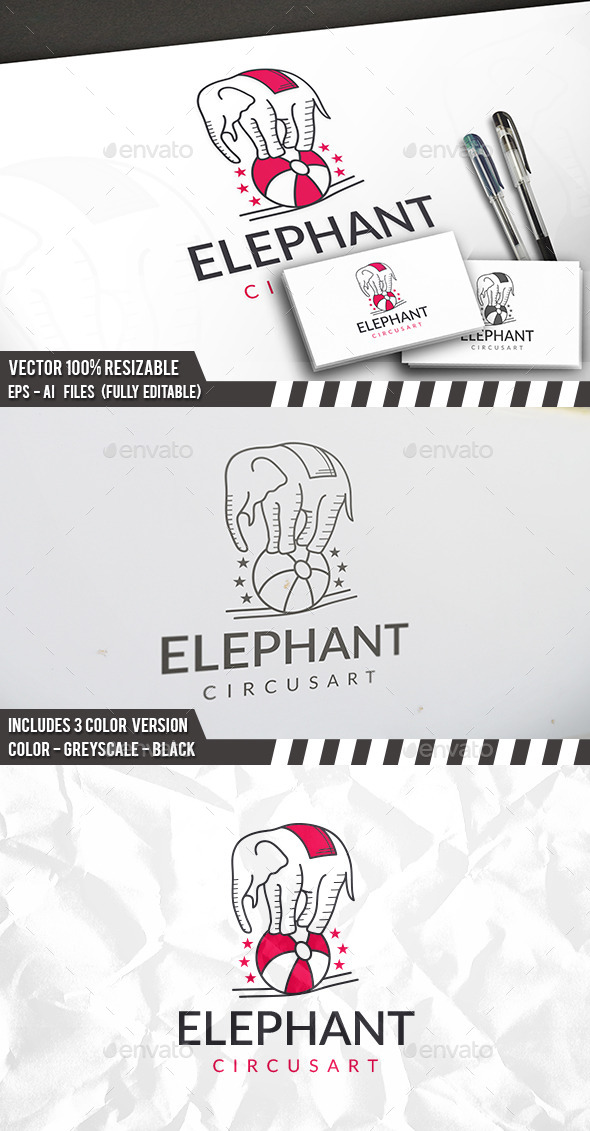 Elephant Circus Logo - Animals Logo Templates