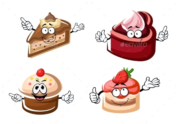 Sweet Chocolate, Biscuit And Fruity Cakes - Food Objects