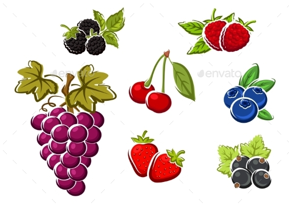 Sweet Ripe Isolated Berries And Fruits - Food Objects