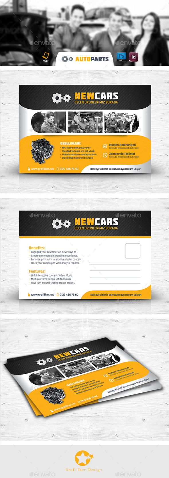 Automobile Service Postcard Templates