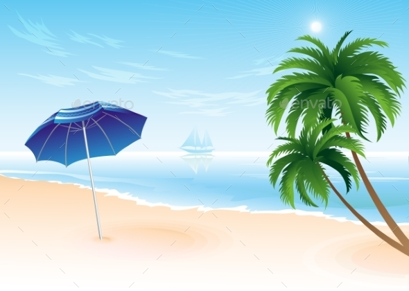 Summer Beach With Palm Trees  - Travel Conceptual
