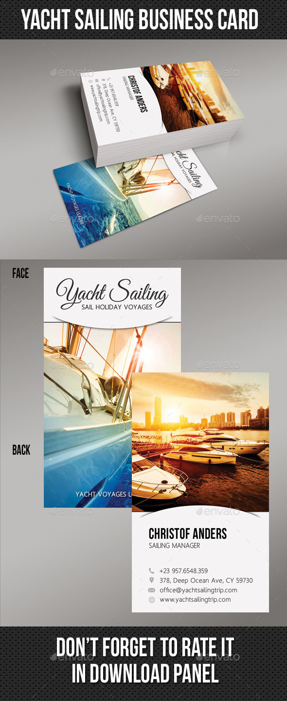Yacht Sailing Business Card 03 - Business Cards Print Templates