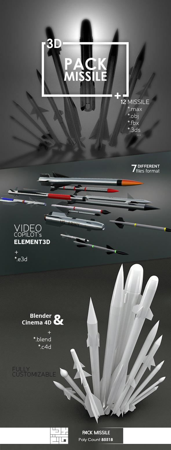 Pack Missile 3D Model - 3DOcean Item for Sale
